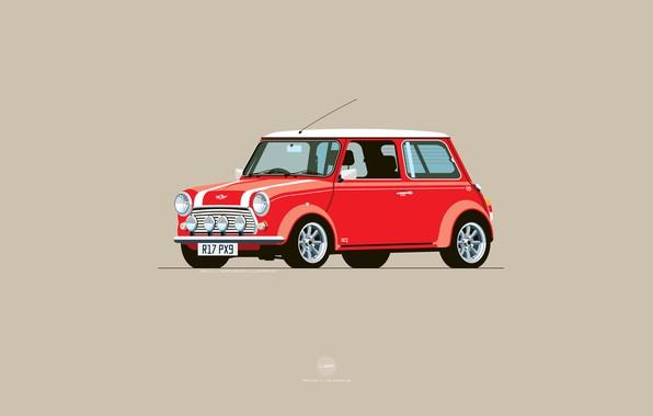 Картинка Красный, Авто, Mini, Cooper, Минимализм, Рисунок, Машина, Mini Cooper, Арт, Мини, Nik Schulz, R17PX9, R17-PX9, …