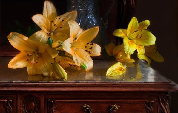 Картинка вода, капли, цветы, лилии, бутоны