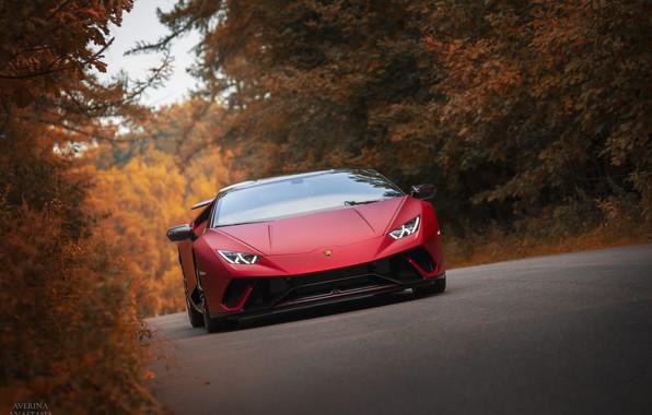 Фото обои Lamborghini, autumn, RED, Huracan