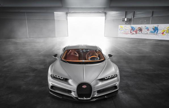Фото обои Bugatti, Turbo, Silver, VAG, W16, Sight, Chiron