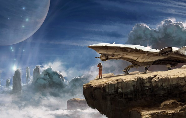 Картинка fantasy, sky, science fiction, clouds, rocks, spaceship, sci-fi, planet, digital art, artwork, fantasy art, Explorer, ...