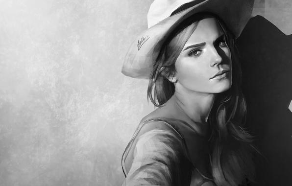 Картинка фон, рисунок, портрет, шляпа, арт, черно-белое, Эмма Уотсон, Emma Watson
