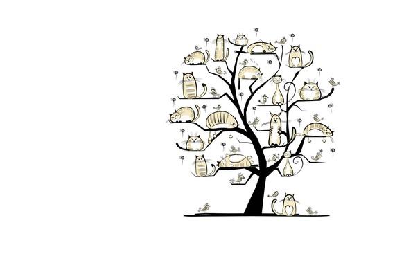 Картинка кот, дерево, весна, арт, март