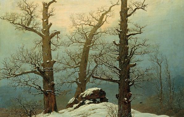 Картинка зима, деревья, пейзаж, камни, картина, Каспар Давид Фридрих, Дольмен под Снегом