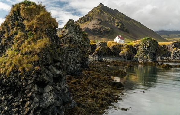 Картинка гора, домик, Исландия, Iceland, Arnarstapi
