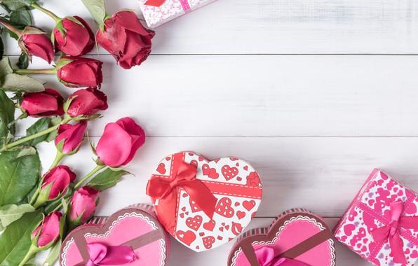 Картинка любовь, цветы, сердце, розы, подарки, красные, red, love, бант, box, heart, wood, flowers, romantic, valentine's …