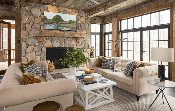 Картинка дизайн, дерево, камень, интерьер, камин, гостиная