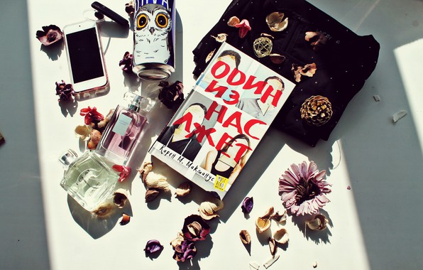 Картинка цветы, сова, книги, ipod, духи, блузка, книга, напиток, iphone, шишка, blouse, book, owl, books, spirits, ...
