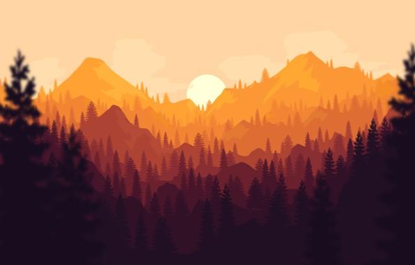 Картинка Закат, Солнце, Вечер, Горы, Игра, Лес, Вид, Холмы, Пейзаж, Арт, Art, Campo Santo, Firewatch, Пожарный ...