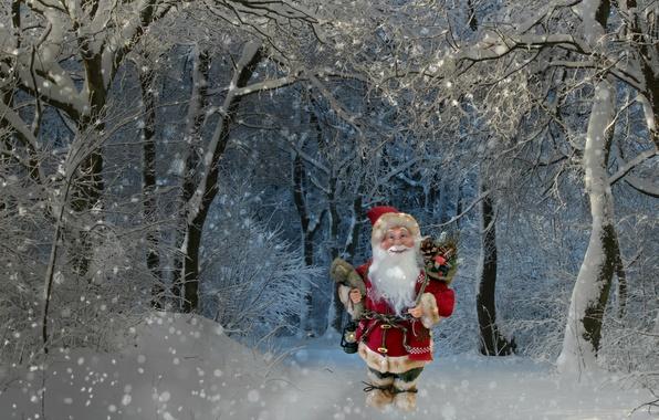 Картинка зима, лес, снег, деревья, праздник, ветви, игрушка, новый год, рождество, сказка, фонарь, подарки, санта клаус, …