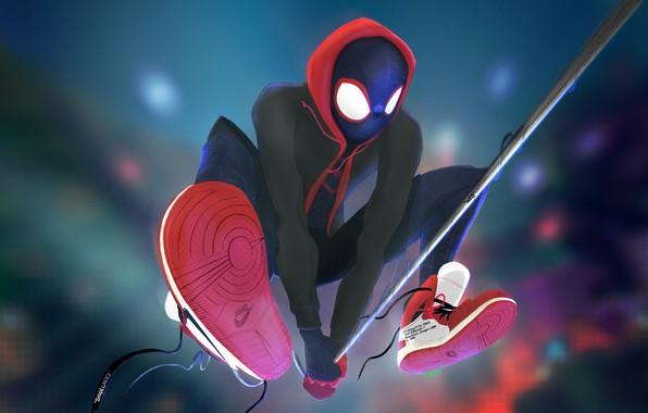 Картинка Рисунок, Паутина, Костюм, Герой, Маска, Капюшон, Супергерой, Hero, Арт, Art, Web, Фантастика, Marvel, Кроссовки, Человек-паук, …