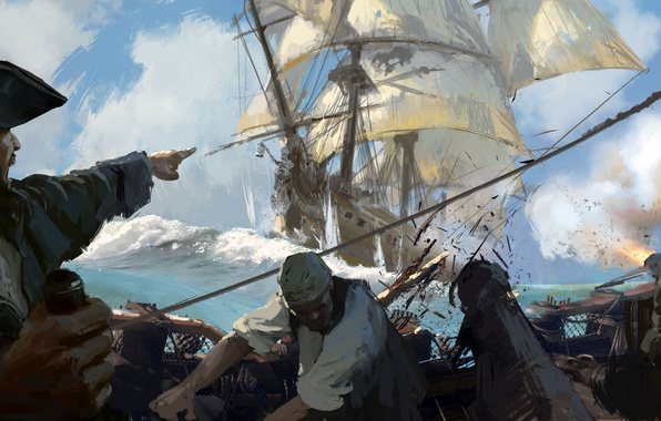 Картинка game, sea, pirate, hat, man, ship, sails, crew, kaizoku, Skull and Bones