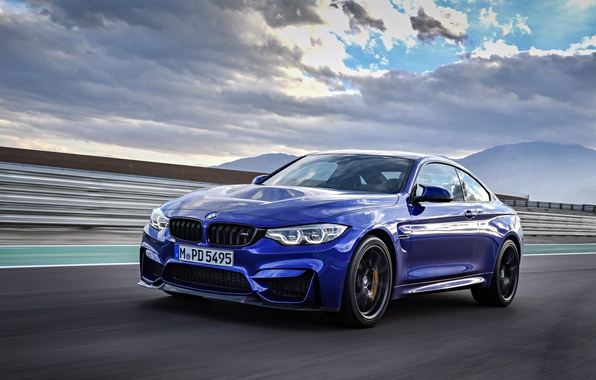 Фото обои car, BMW, sky, blue, cloud, speed, asphalt, kumo, BMW M4 CS
