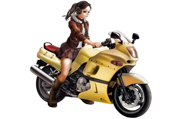 Картинка girl, anime, pretty, brunette, superbike, sugoi, headphone, by kotikomori