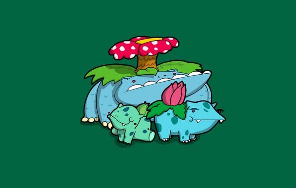 Картинка цветок, синий, зеленый, green, grass, карикатура, flower, blue, покемон, pokemon, bulbasaur, ядовитый, Ivysaur, Venusaur, бульбасавр, …