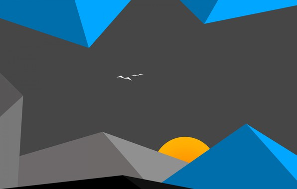 Картинка солнце, облака, пейзаж, горы, птицы, минимализм