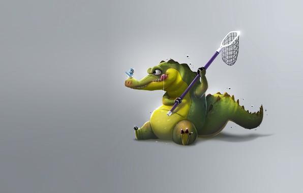 Картинка крокодил, арт, сачок, птичка, Crocodrile, Samuel Suarez