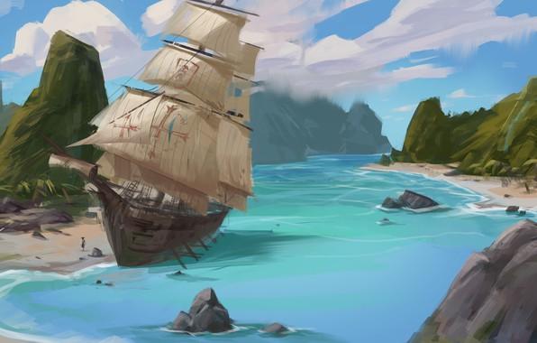 Картинка берег, корабль, парусник, бухта, арт, бриг, practice, jin dongyu
