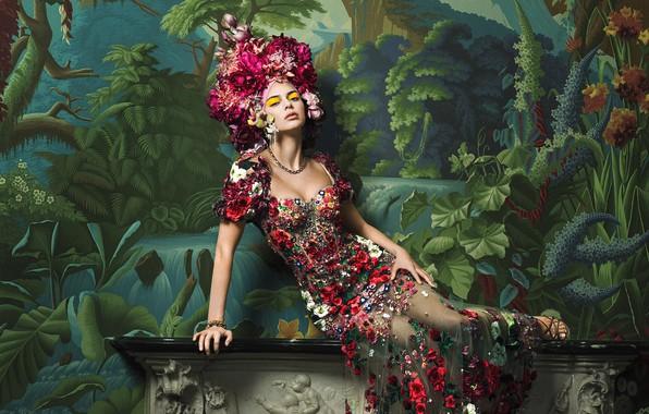 Картинка девушка, поза, фото, модель, фигура, платье, Vogue, Kendall Jenner