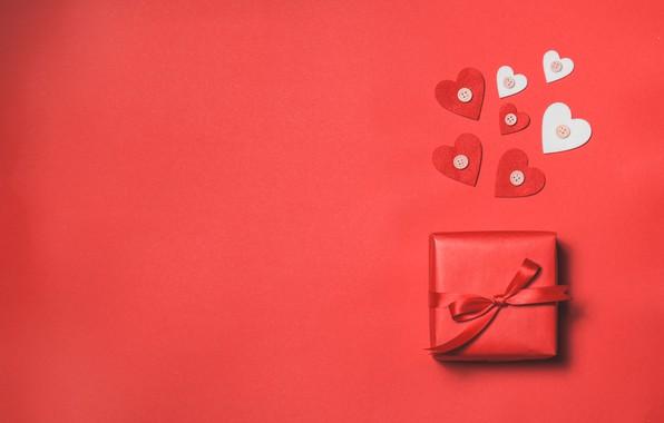 Картинка подарок, Love, лента, сердечки, red, heart, gift, Valentines Day