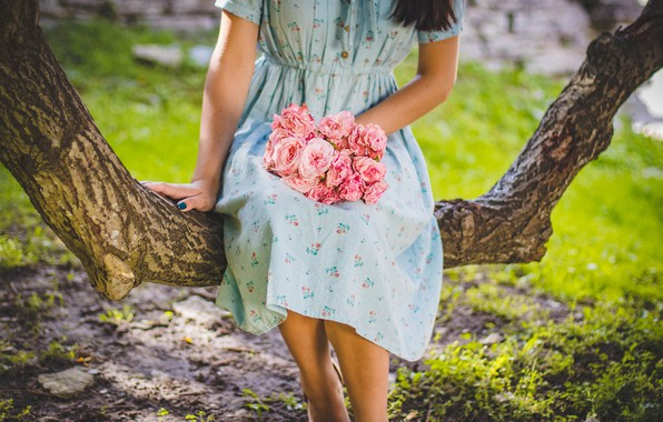 Картинка девушка, цветы, дерево, платье