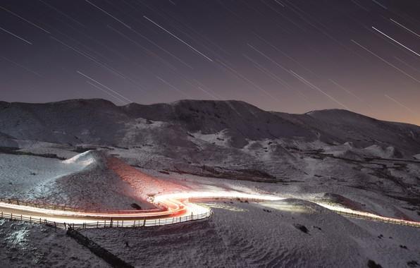 Фото обои зима, звёзды, ночь, дорога, огни