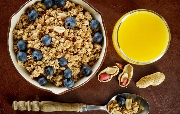 Картинка ягоды, завтрак, черника, сок, арахис, breakfast, мюсли