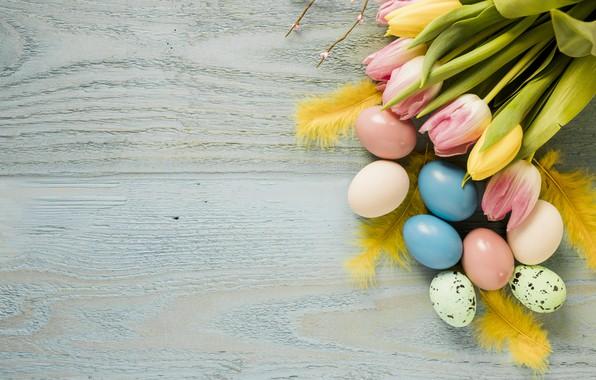 Картинка цветы, весна, Пасха, тюльпаны, розовые, wood, pink, flowers, tulips, spring, Easter, eggs, decoration, Happy, tender, …