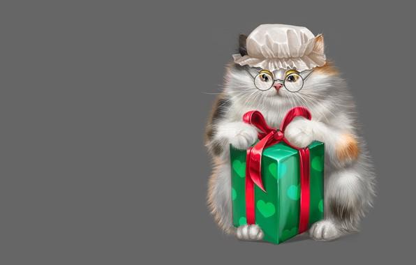 Картинка кошка, коробка, подарок, арт, очки, Game, детская, капор, чепец, Alesya Lukyanenko