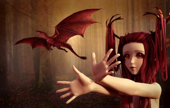Картинка лес, глаза, взгляд, девушка, деревья, полет, красный, лицо, туман, рендеринг, фантазия, фантастика, стволы, волосы, дракон, …