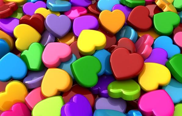 Картинка сердечки, разноцветные