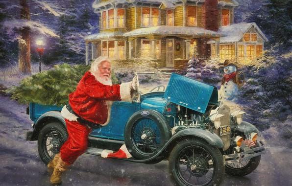 Фото обои зима, снег, огни, дом, ретро, праздник, вечер, снеговик, автомобиль, санта клаус, классика