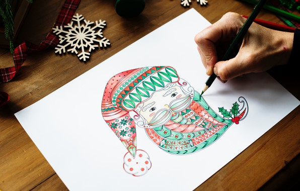 Картинка рисунок, новый год, карандаш, дед мороз, снежинка, ленточка, new Year, pencil, Santa Claus, snowflake, ribbon, …