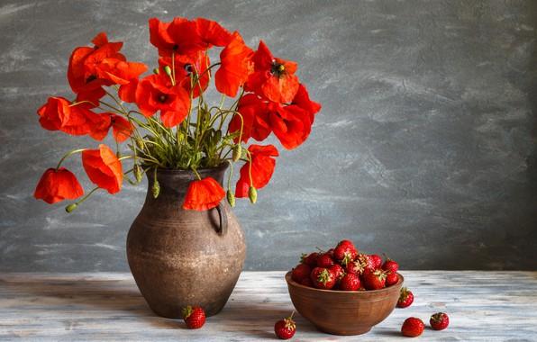 Картинка ягоды, маки, клубника, миска, кувшин