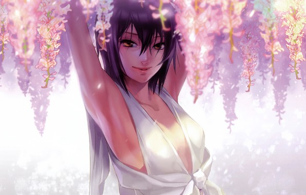 Картинка девушка, улыбка, брюнетка, белое платье, глициния, руки вверх