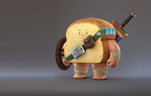 Картинка рендеринг, настроение, меч, воин, арт, хлеб, Zhang Chi, Bread Warrior