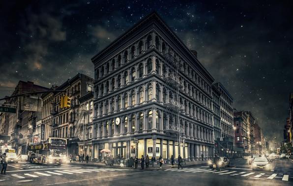 Картинка ночь, New York, Manhattan, Gotham