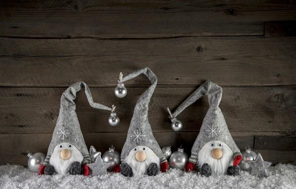 Картинка снег, украшения, игрушки, Новый Год, Рождество, снеговики, happy, Christmas, wood, snow, New Year, Merry Christmas, …