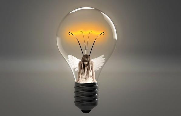 Картинка лампочка, девушка, крылья, нить, накал
