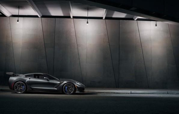 Картинка Corvette, Chevrolet, ZR1, вид сбоку, 2019