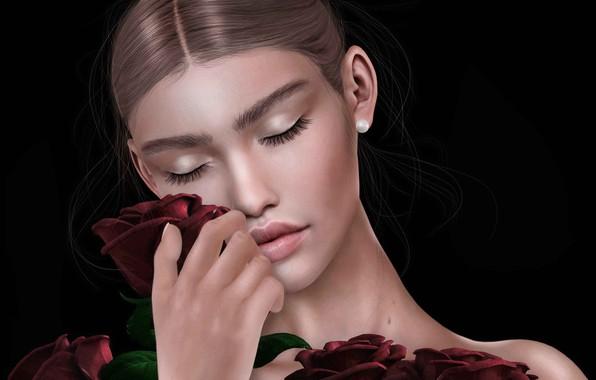 Картинка девушка, лицо, фон, розы, букет