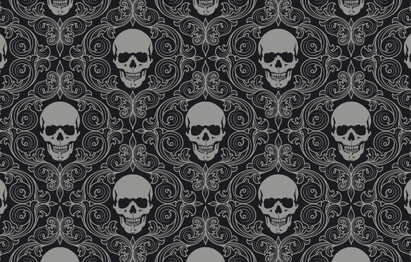 Картинка skull, background, gray, skull tiles