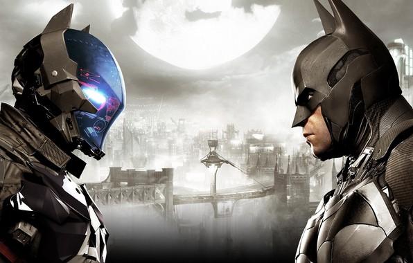 Картинка Город, Игра, Луна, Бэтмен, Костюм, Шлем, City, Герой, Маска, Moon, Супергерой, Hero, Batman, Злодей, Game, …