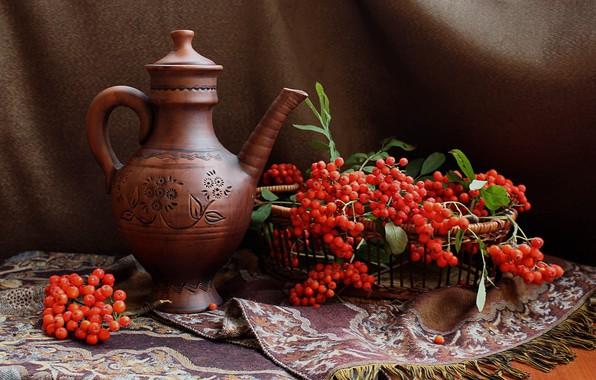 Картинка осень, ягоды, кувшин, натюрморт, рябина