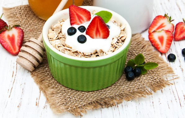 Картинка ягоды, завтрак, десерт, хлопья, йогурт