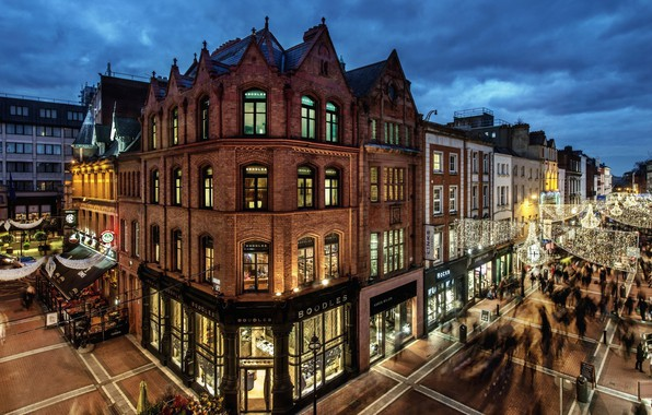 Картинка city, lights, twilight, evening, people, houses, Ireland, streets, buildings, Dublin, shops, palaces
