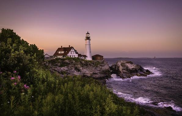 Картинка море, закат, portland, head lighthouse
