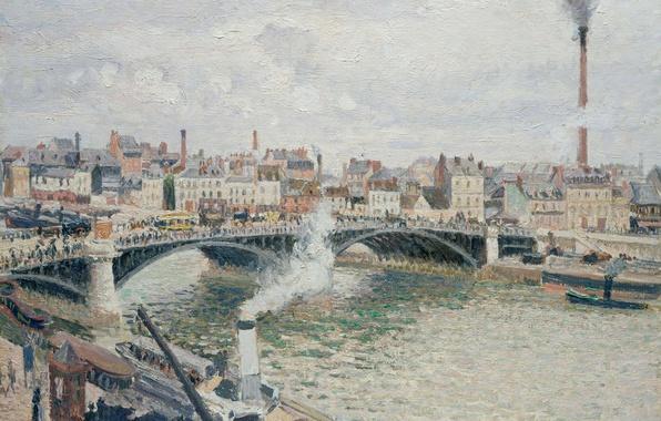 Картинка мост, река, дома, картина, городской пейзаж, Камиль Писсарро, Утро. Пасмурный День. Руан