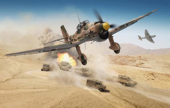 Картинка Germany, Танки, painting, Sturzkampfflugzeug, Luftwaffe, автомашины, Северная Африка, Пикирующий бомбардировщик, Ju.87R-2