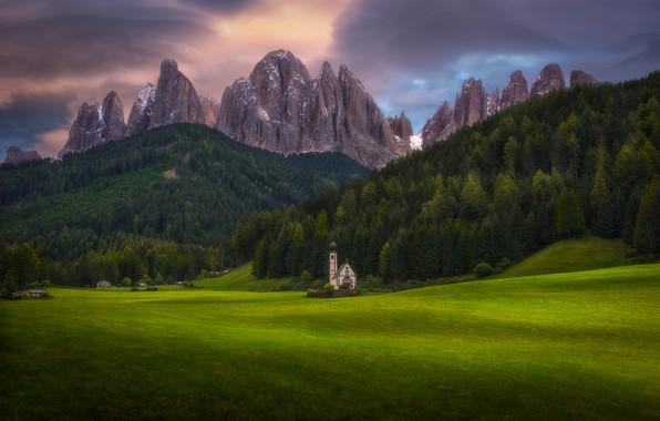 Фото обои церковь, лес, горы, Альпы, луга